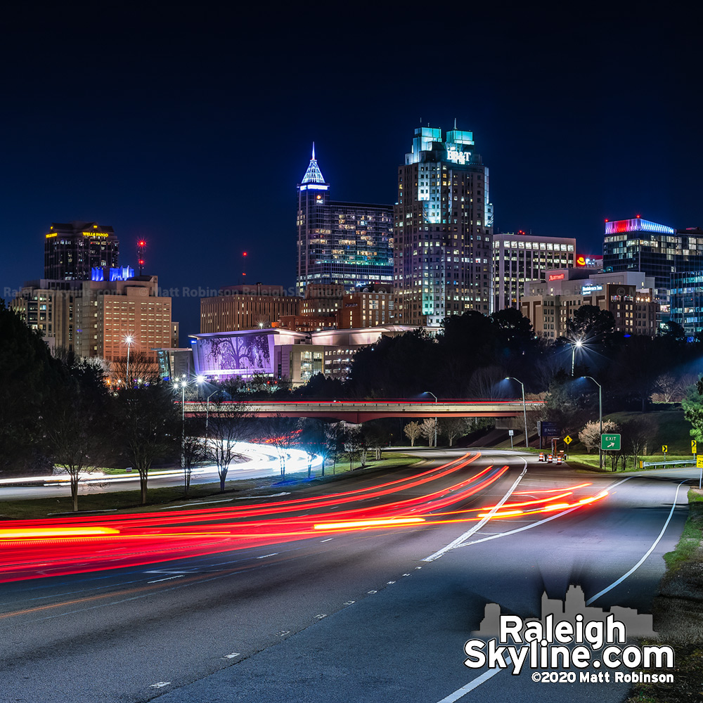 Raleigh Friday the 13th skyline at night