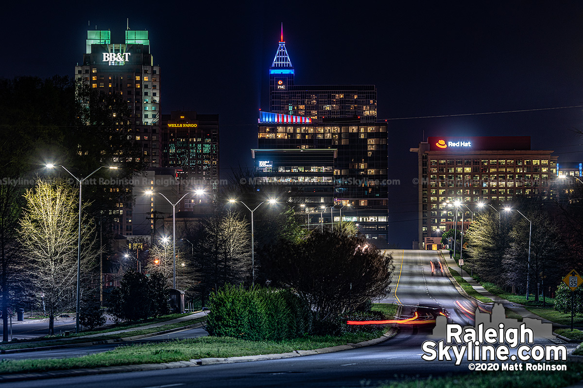 Raleigh buildings lit red white and blue
