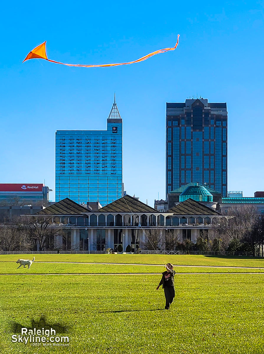 Flying a kite at Halifax Mall