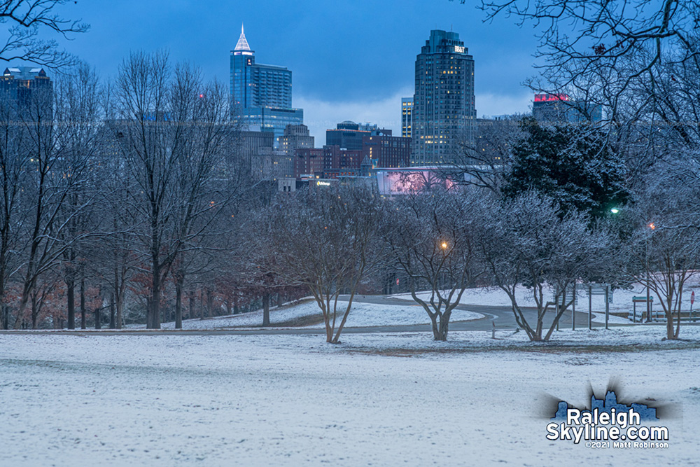 Snowy downtown Raleigh at sunrise on January 28, 2021
