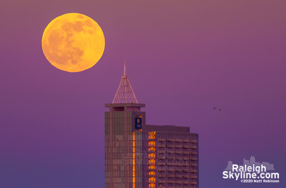 Moon rising through the Belt of Venus with PNC Plaza
