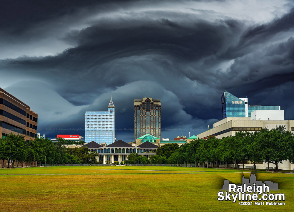 Out of this world shelf cloud arriving in downtown Raleigh