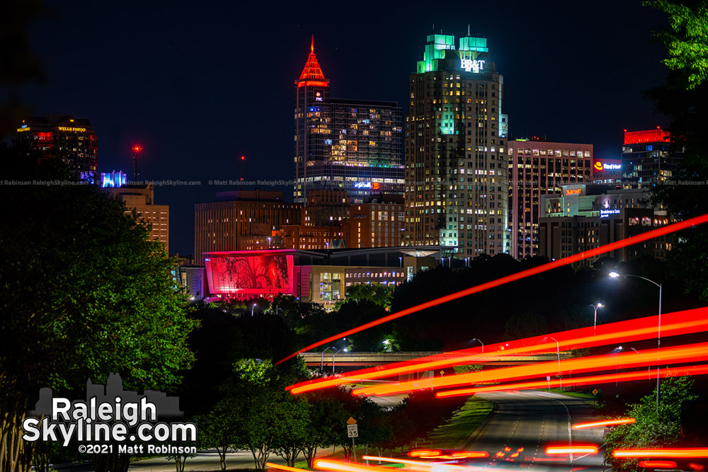 Downtown Raleigh skyline lit red for the Carolina Hurricanes