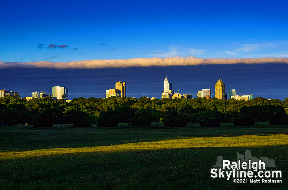 Raleigh skyline sunlight sandwich: The sharp edge of a cloud deck provided this interesting contrast right before sunset.