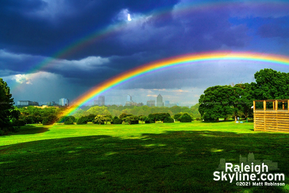 One of the brightest and most vivid rainbow in front of downtown Raleigh.