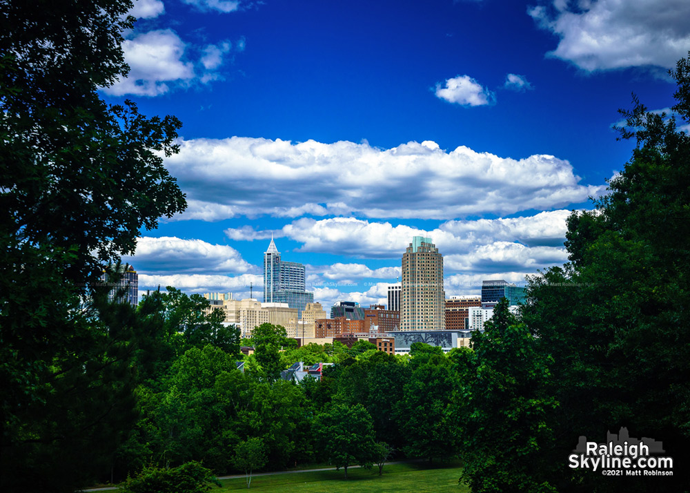 Blue sky and puffy clouds over Raleigh