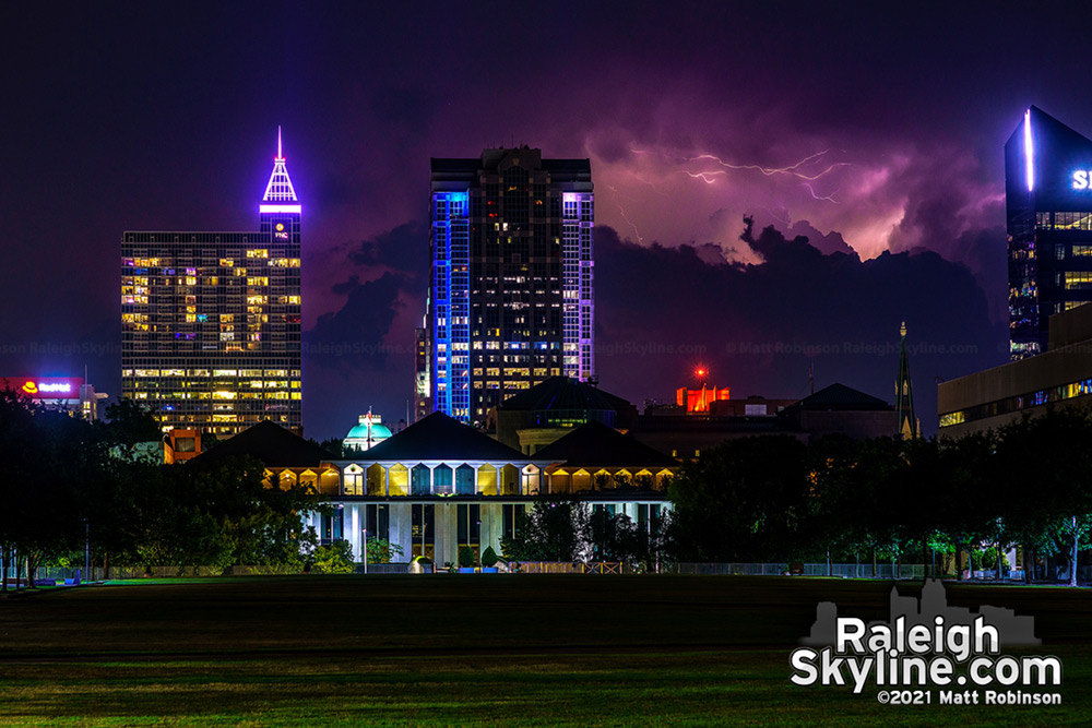 Distant lightning over 40 miles away lights up the sky south of downtown Raleigh